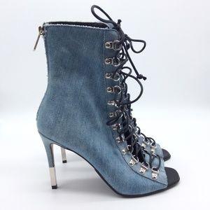 BALMAIN Denim lace-up ankle boots